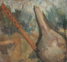 Antique impressionist oil painting folk still life with flute and gourd