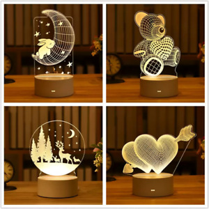 3D Lamp Acrylic LED Night Light Table Desk Lamp For Kids Birthday Gift Home Deco