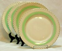 Grace's Teaware Green with Gold Dots Porcelain Dinner Plates Set of Four New