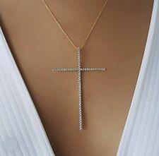 Extra Large Silver Cross Necklace Womens Chain Pendant Gold Big Diamond Zircon