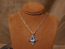 Sterling Silver Inlay Sun Face Necklace