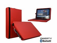 "10.1"" Bluetooth Keyboard Case Book Cover For Samsung Nexus 10 - Red"