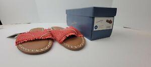 Universal Thread Women's Luciana Sandals Slide Fringe Red Size 9 Memory Foam