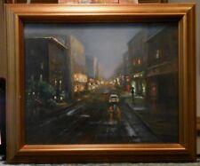 Lonely Street 8x10 framed original oil painting Celene Farris. City night rain
