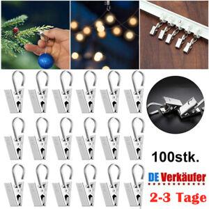 100x Edelstahl Vorhang Clips mit Klammer Haken Gardinenhaken Gardinen Aufhänger