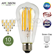 NEW 6W LED Long Filament Bulb E27 Screw Globe 240V Clear ST64 Warm White 10 Pack