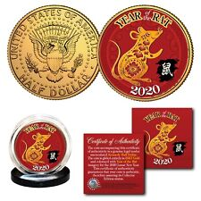 2020 Chinese New YEAR OF THE RAT 24K Gold Plated JFK Kennedy Half Dollar US Coin