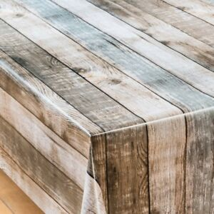 Plain Brown Beige Cream Oak Rustic Effect Pvc Vinyl Table Cloth Picnic Modern