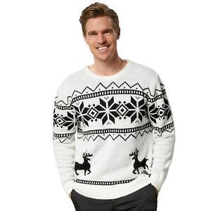 Herren Weihnachtspullover Merry Christmas Sweater Pulli Weihnachten Xmas weiß
