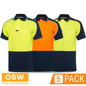 5 x Hi Vis MENS Aero MICROFIBRE Short Sleeve Polo Work TRADIES Visitec Shirts