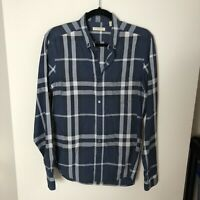Burberry Brit Men's Size S Small Long Sleeve Button Down Shirt Blue Plaid