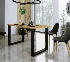 Tisch Peltata 138x67  Esstisch Eichenholz Massivholz Metallbeine Industrial Look