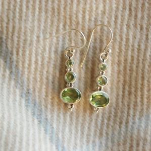 Handmade 925 Sterling Silver Peridot Gemstone Circles Drop/Dangle Earrings