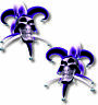 Vinyl sticker/decal Extra small 50mm Jester smiling skull Purple - pair