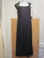NWT Onyx Nite Black/Purple Long Chiffon Floral Embroidered Glitter Womens Size 8