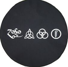 SpareCover® Brawny Series - Led Zeppelin RUNES HD Black Denim Vinyl Tire Cover
