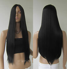 28'' Long Black Straight Cosplay Party Hair Wig 1B