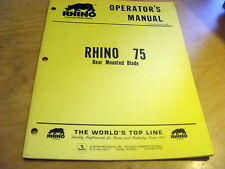 Servis Rhino 75 Rear Mounted Blade Operator's Owner's Manual Catalog Book