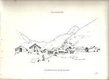 1880 GRAND ALPE COL DU MONT VALGRISENCHE Valle d'Aosta litografia alpinismo