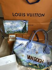 LOUIS VUITTON MASTERS NEVERFULL Jeff Koons VAN GOGH Paint Hand Bag W/Pouch NEW!!