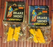 NOS 2 Pairs of yellow Bicycle Brake Shoe for bmx fixie old school Skyway HARO GT