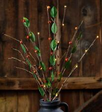 Country new berries and leave twig lights stem / battery operated