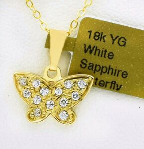 WHITE SAPPHIRE BUTTERFLY PENDANT 18K YELLOW GOLD * Free Chain * NEW WITH TAG