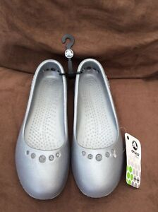 Crocs Prima Women's Ballerina Shoes (Silver) New Size US 5, UK 3