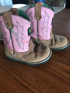 Toddler Girl John Deere Pink Leather Boots Infant 7M