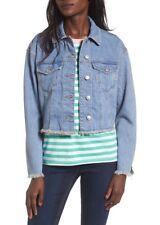 TopShop Moto Jacket Size 14 Blue Frayed Denim New $90