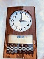 Old wall clock Made of natural wood vintage