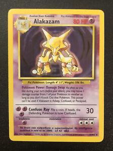 ALAKAZAM - HOLO RARE - UNLIMITED - POKEMON BASE SET #1/102 - NEAR MINT PSA READY