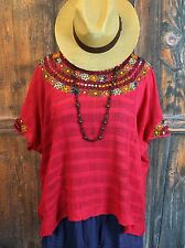 Heavily Hand Embroidered Yoke Coban Guatemala Red Huipil Hippie Boho Beach Cover