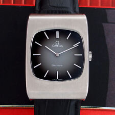 STUNNING VINTAGE OMEGA GENEVE MEN'S MANUAL SS BLACK 2 TONE DIAL WATCH