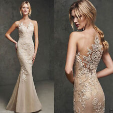 Champagne Applique Mermaid Pageant Prom Formal Dress Party Wedding Evening Dress