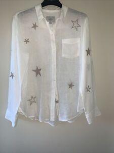 Rails Linnen Shirt With Stars Size M
