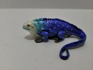 Blue Iguana Trinket Box Lizard Bejeweled Enamel and  Crystals #110