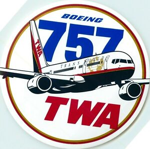Boeing 757 ~TWA AIRLINE~ Great Old Luggage Label / Decal, circa 1985