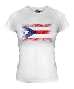 PUERTO RICO DISTRESSED FLAG LADIES T-SHIRT TOP PUERTO RICAN SHIRT FOOTBALL GIFT