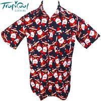 Christmas Santa Mens Hawaiian Cotton Shirts