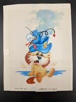 Vtg 70s Norcross Greeting Card Terrier Dog Puppy Original Artwork Proof