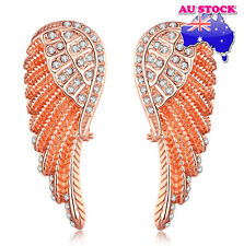 Wholesale 18K Rose Gold Filled Angel Wings CZ Earrings Women Biker Bling Jewelry