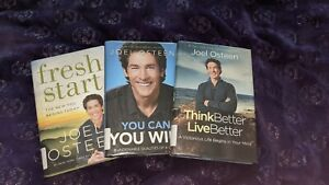 3 Joel Osteen Books: Think Better, Live Better; Fresh Start; You Can You Will