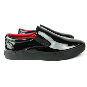 Men's Black Patent Leather Tuxedo Dress Sneakers Red Insole Slip On Santino 442