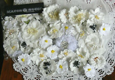 WHITE MIX Flower VALUE PACK approx 4.5 to 7cm across 20 Flowers MH