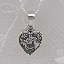 925 Sterling Silver Heart with Horse Necklace Sparkly Chain Fashion Jewelry NEW
