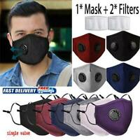 Washable Face Cover Mask Reusable Breathing 2*PM2.5 Filter with Valve Respirator