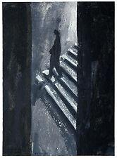 Gerhard Elsner 1930 -2017:  Auf Treppe der Unterführung, Gemälde 45 x 33 cm 1995