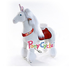 PonyCycle Medium White Non-Electric Kid Powered Ride On Toy Unicorn