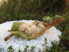 Miniature Figurine FAIRY GARDEN ~ Sleeping Leaf Fairy Baby with Frogs ~ NEW